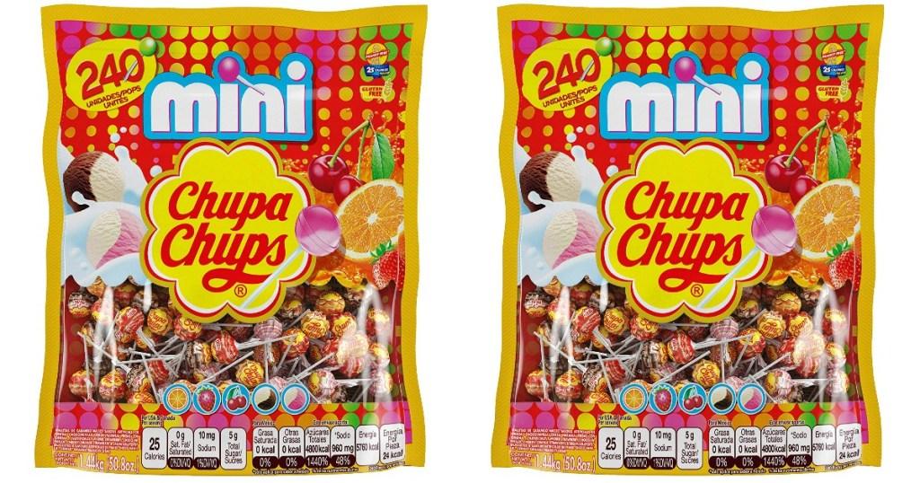 two bags of mini chupa chups lollipops