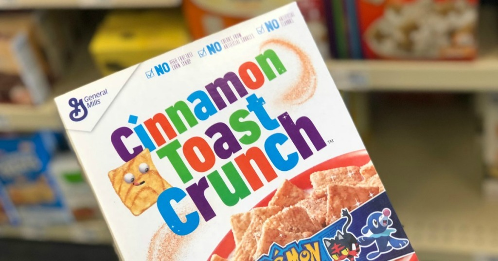 box of cereal near store shelves