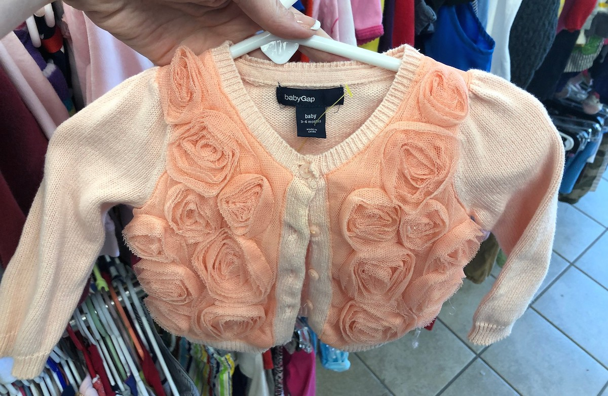 peach orange baby gap floral cardigan