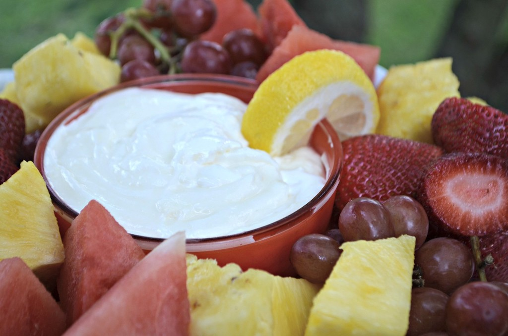 fresh fruit with cream cheese dip