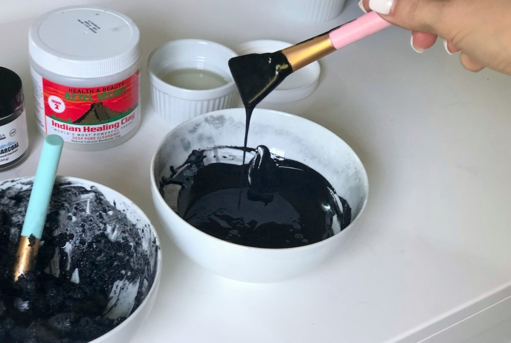 bowl of charcoal face mask
