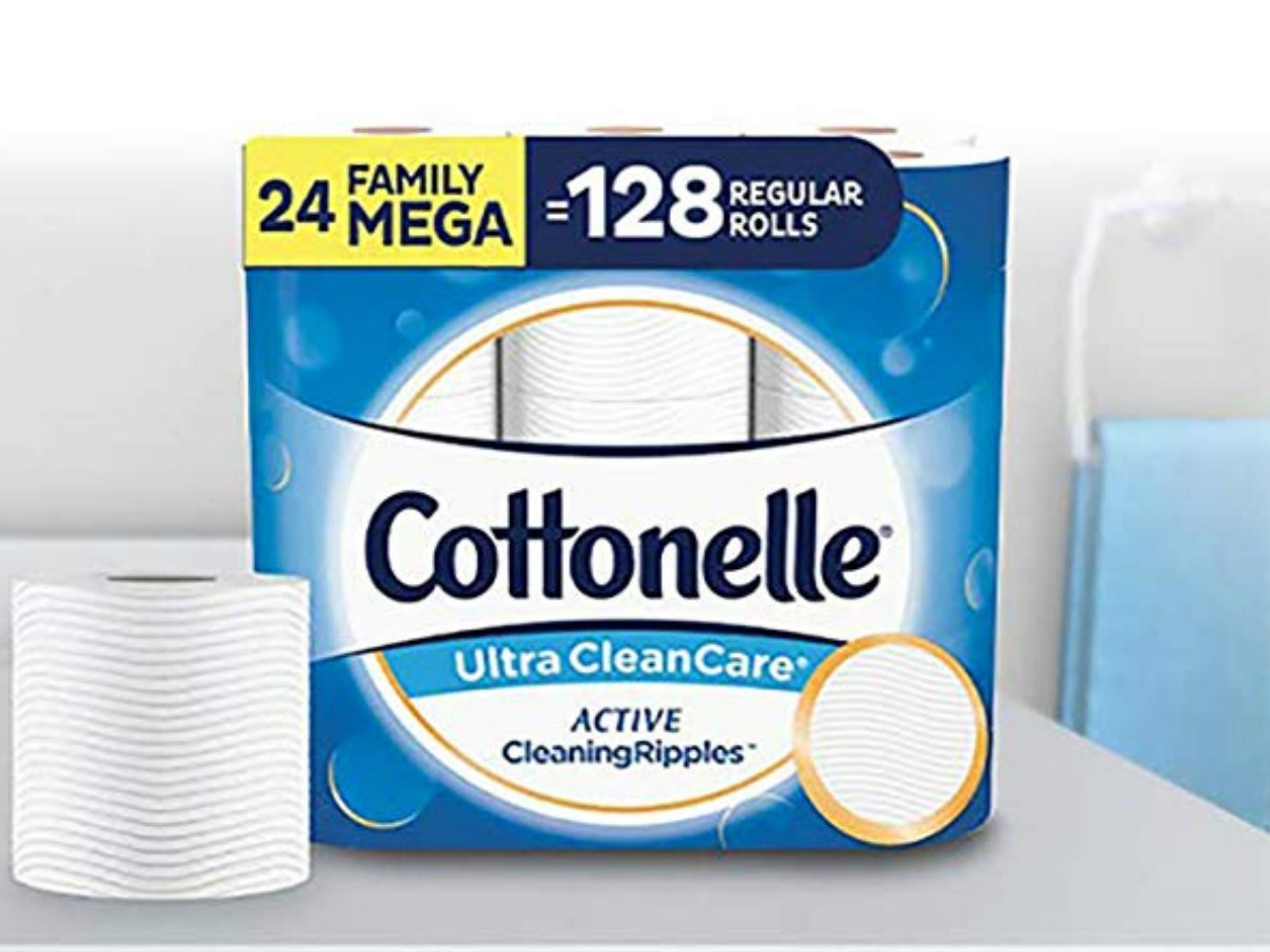 Cottonelle toilet paper and package on counter sink