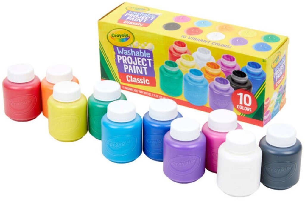 10 small jars of paint next to packaging