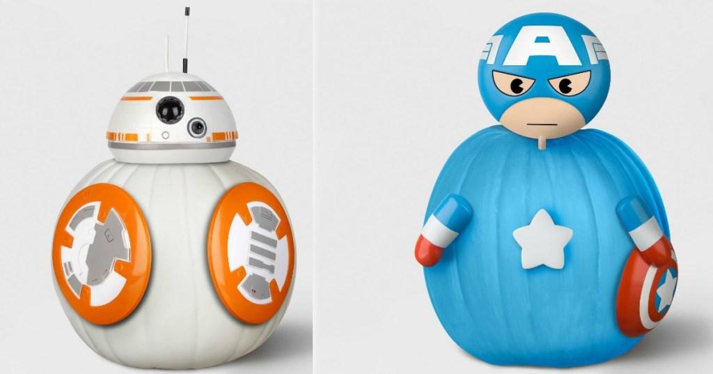 star wars and captain america pumpkins