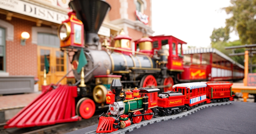 LEGO Disney Train next to Disney Railroad