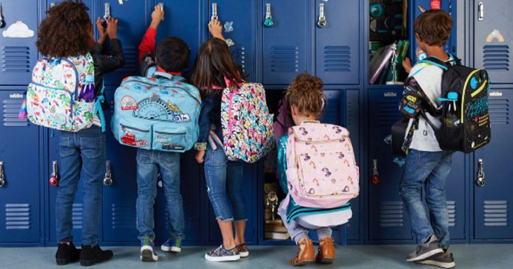kids at lockers in disney backpacks