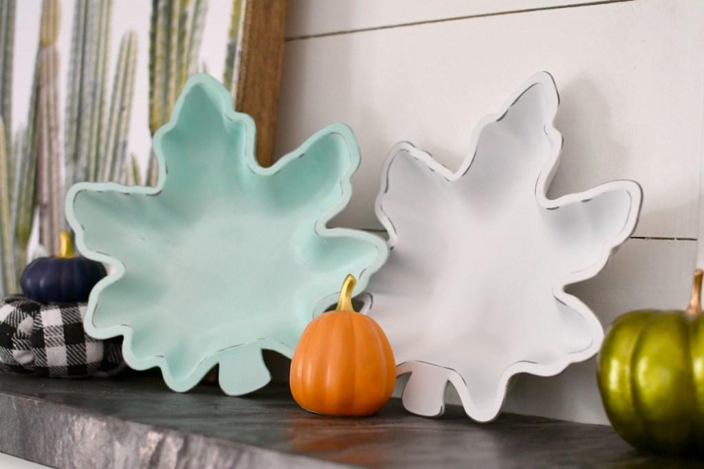 diy leaf bowl on the mantel