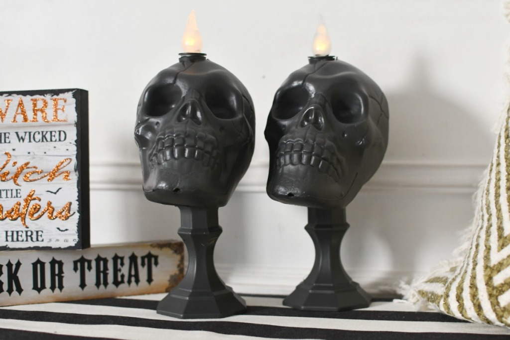diy skull candles from dollar tree styled