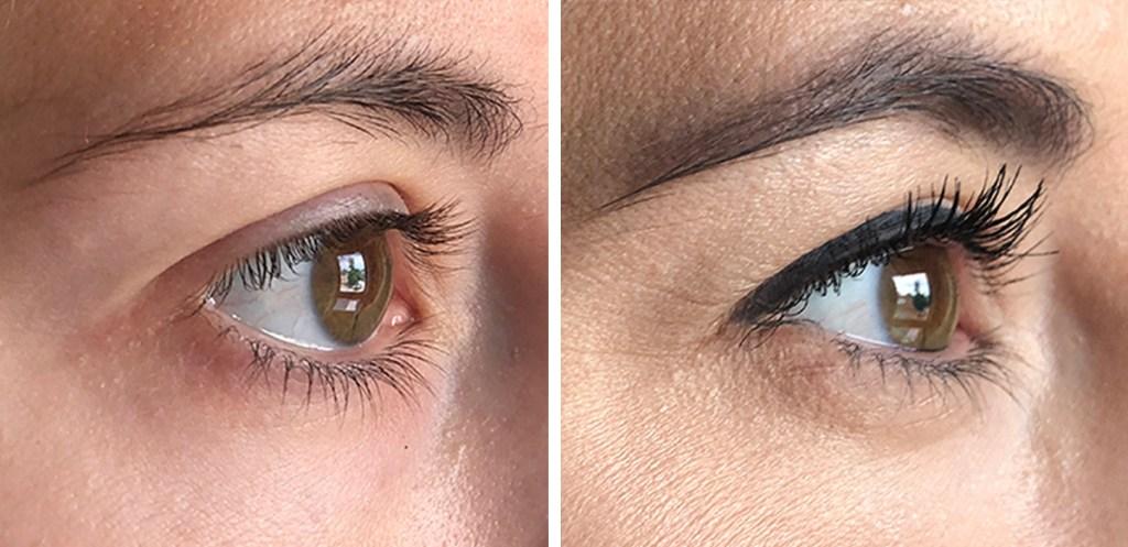 side by side of mascara from believe beauty