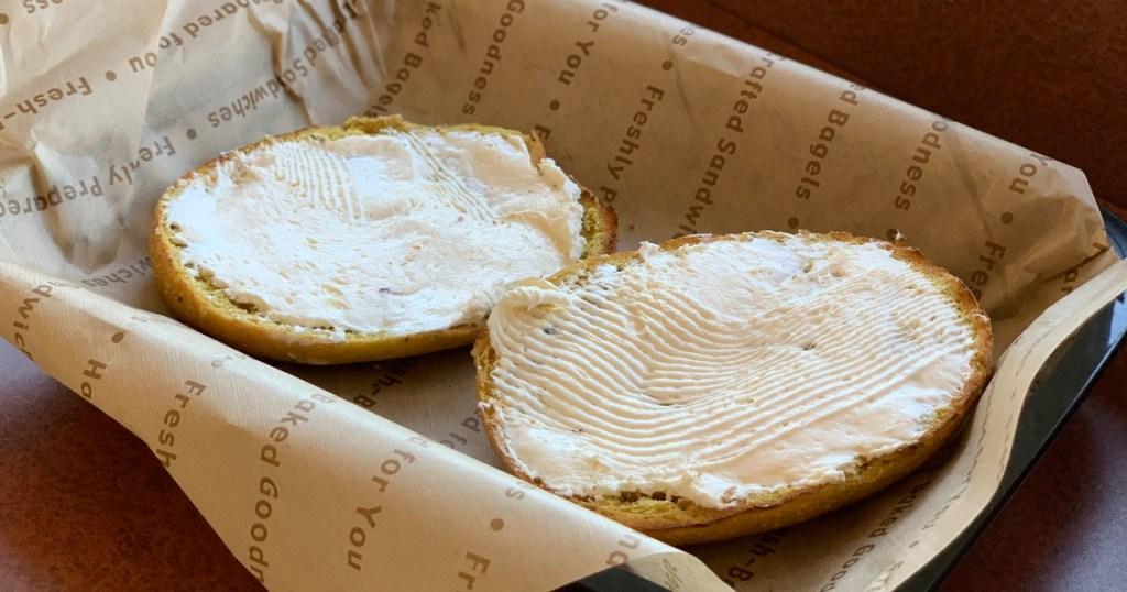 Einstein Bros. pumpkin bagels with cream cheese