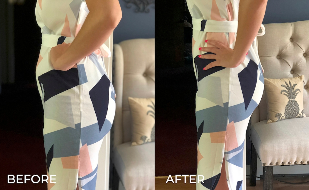 before and after of geometric dress with shapewear
