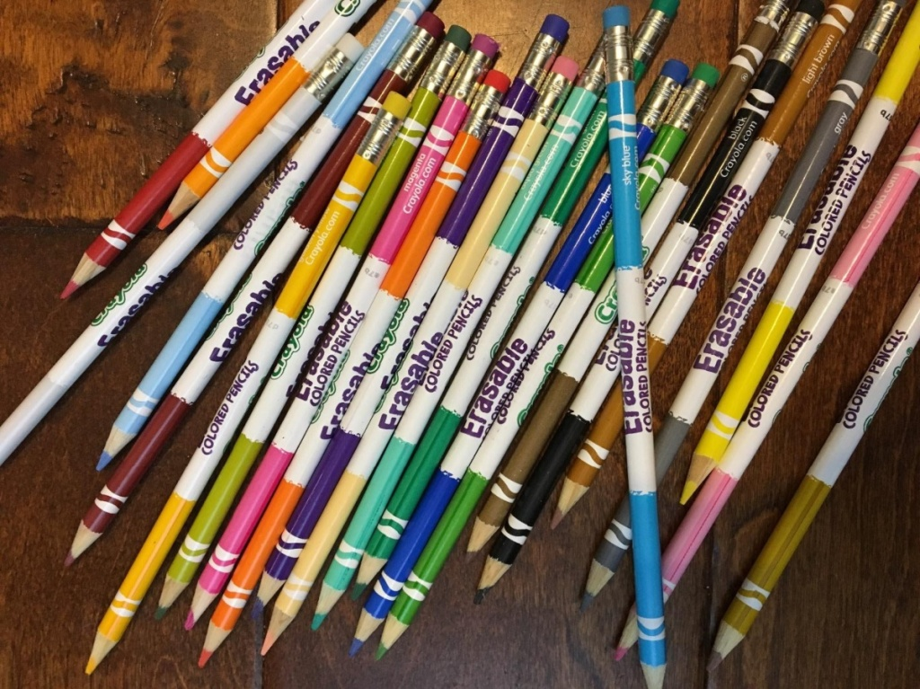 erasable colored pencils on table