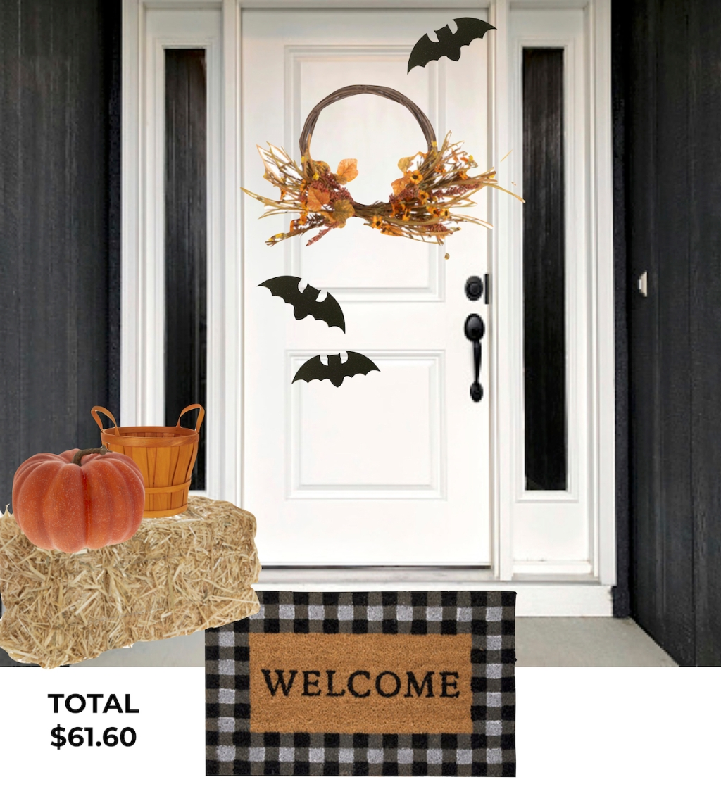 fall front porch decorated with hobby lobby decor