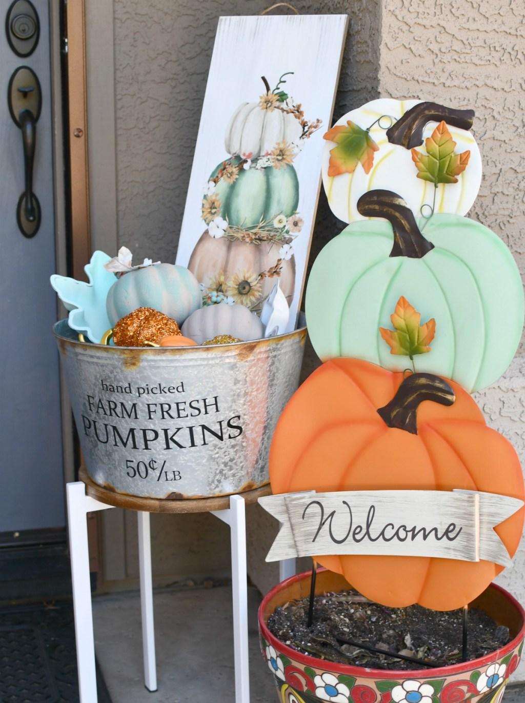 farm fresh pumpkins galvanized container
