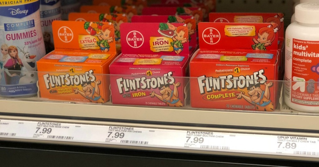 flintstones vitamins on a shelf at target