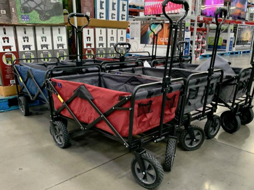 wagon inside store in red, blue and grey
