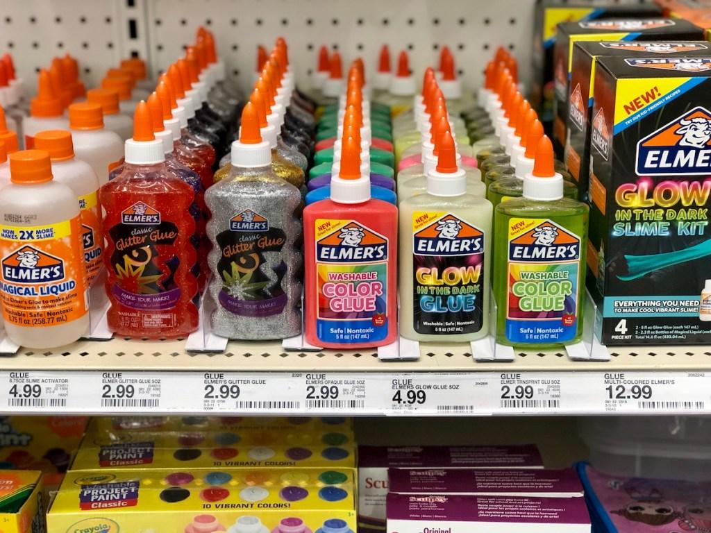 Target shelf full of Elmer's Glues