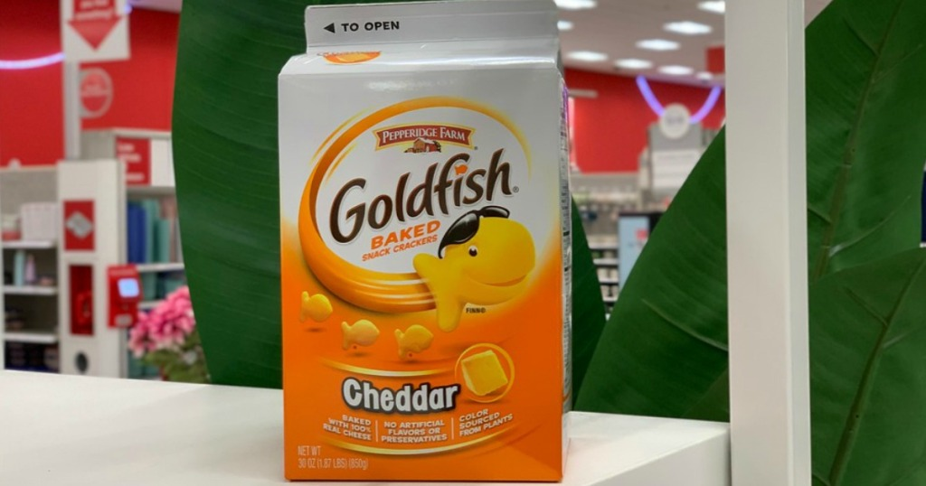 carton of Goldfish crackers in Target store