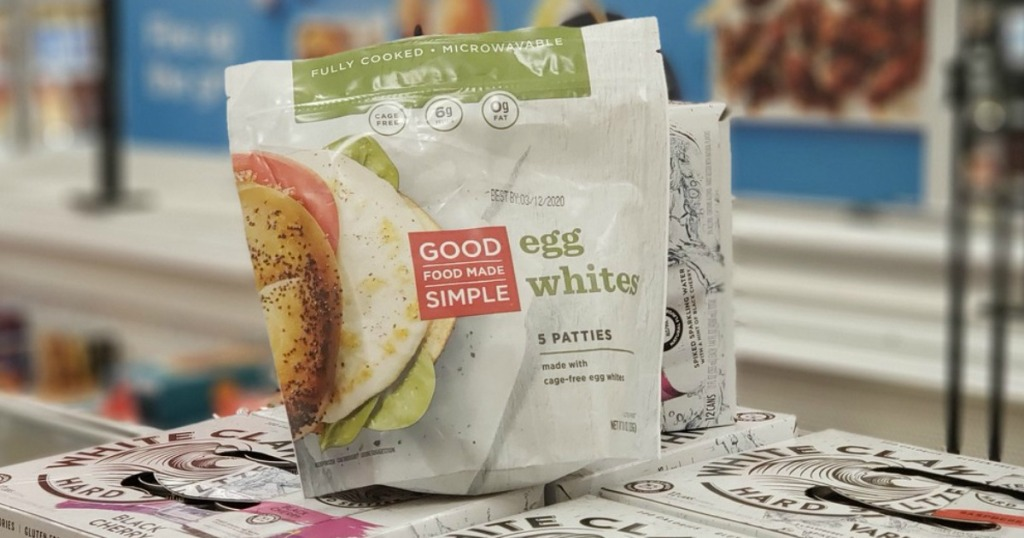 bag of premade egg white patties in store