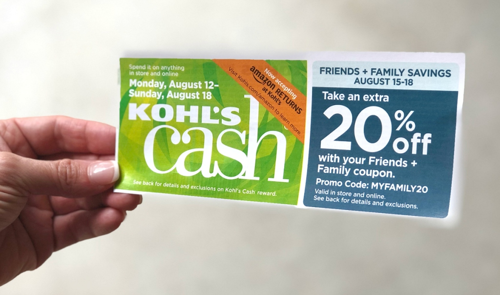 hand holding Kohl's Cash reward