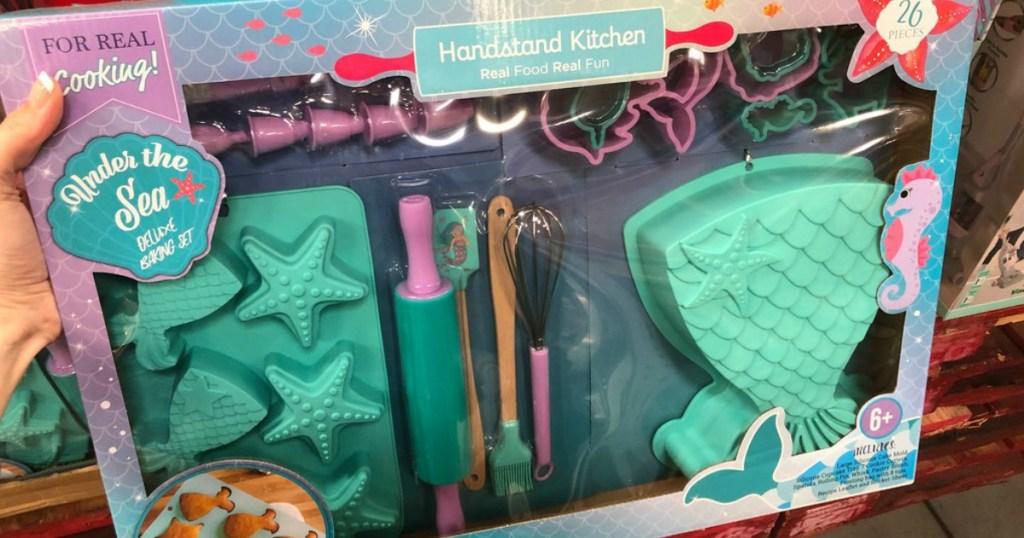 mermaid themed kids cooking set