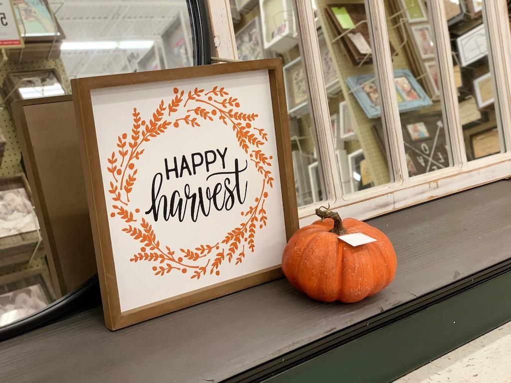 Happy Harvest wall decor sign at Hobby Lobby with pumpkin