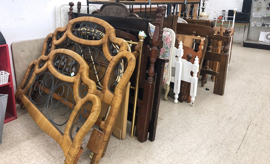 headboards for beds at thrift store