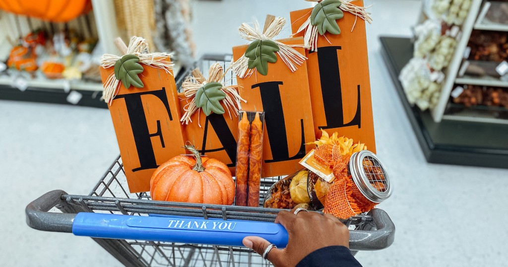 close up of fall decor in cart at store