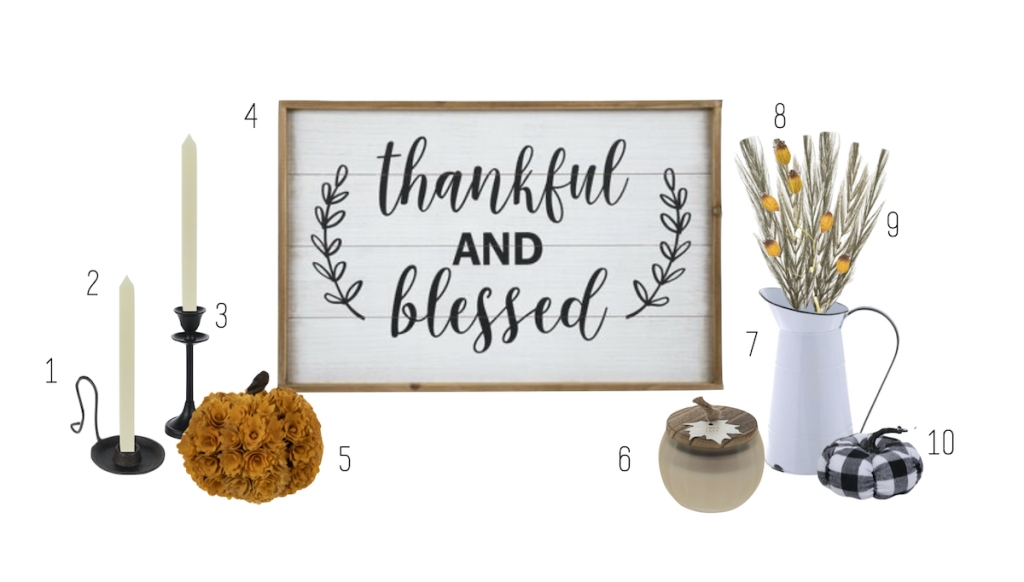 thankful and blessed sign with various fall home decor on stock white background