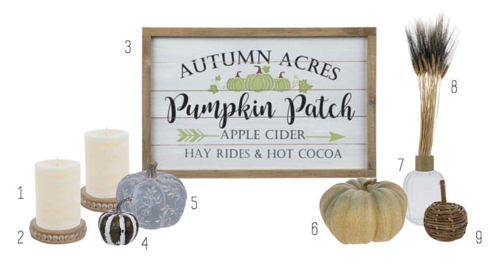 fall decor with pumpkin sign on stock white background