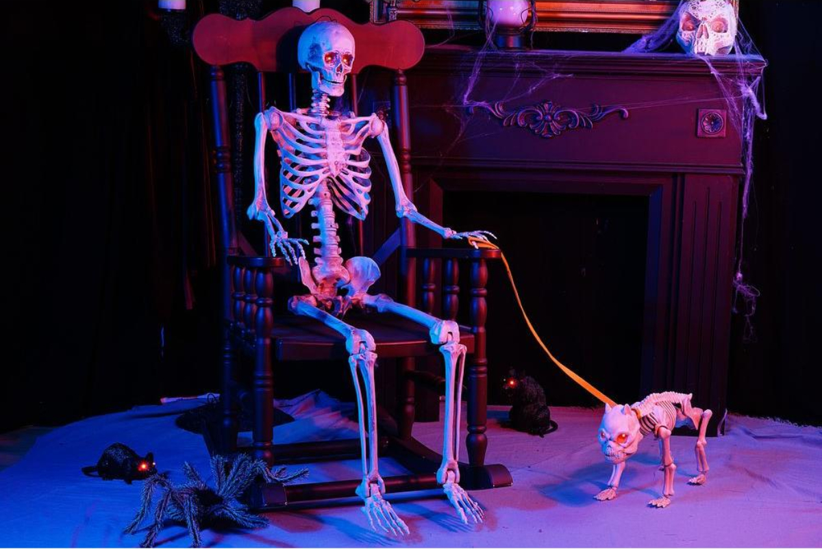 Light up skeleton sitting with skeleton dog