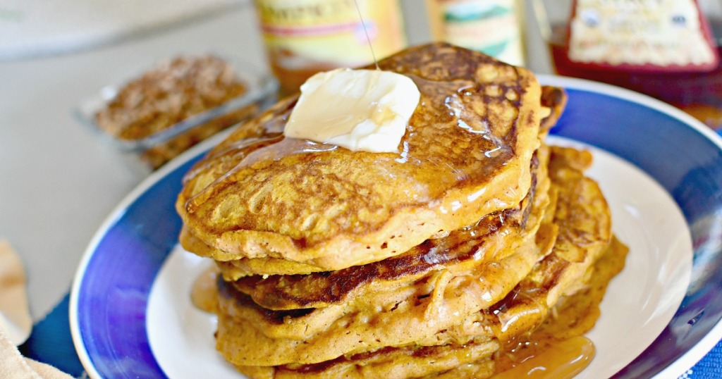 plate of stacked pumpkin spice pancakes