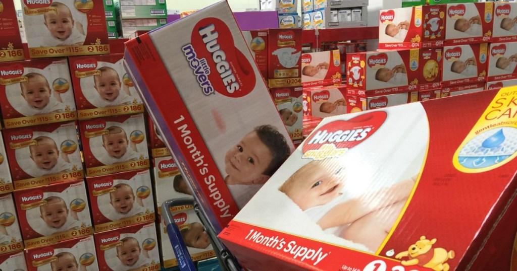 huggies diapers in sams club cart