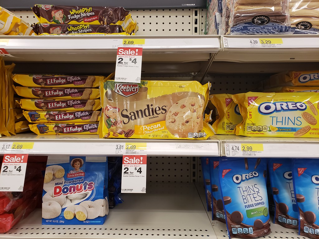 sandies cookies on a shelf at target