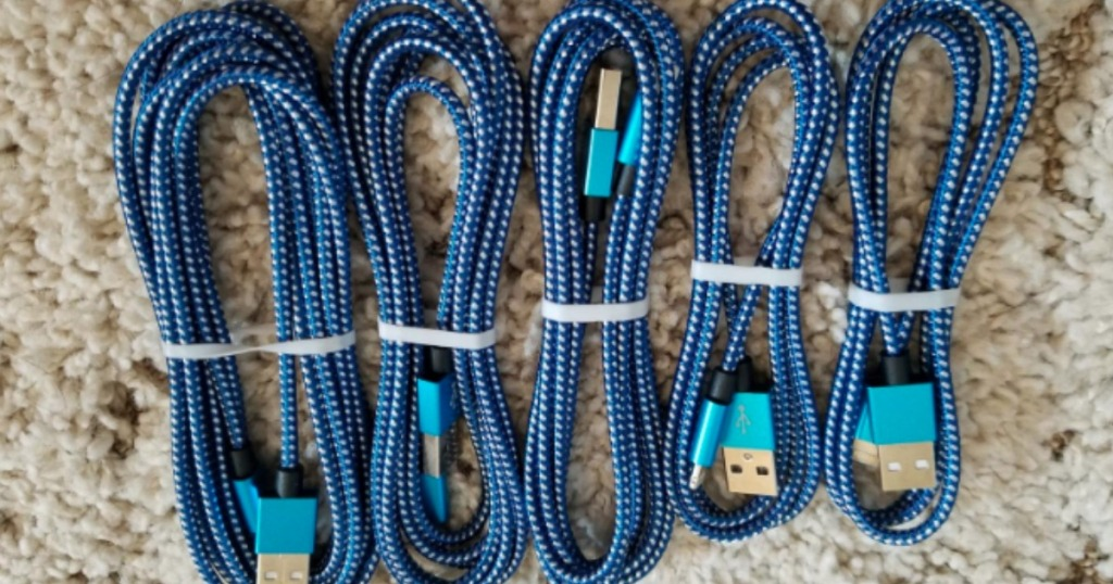bundled white and blue phone charging cords