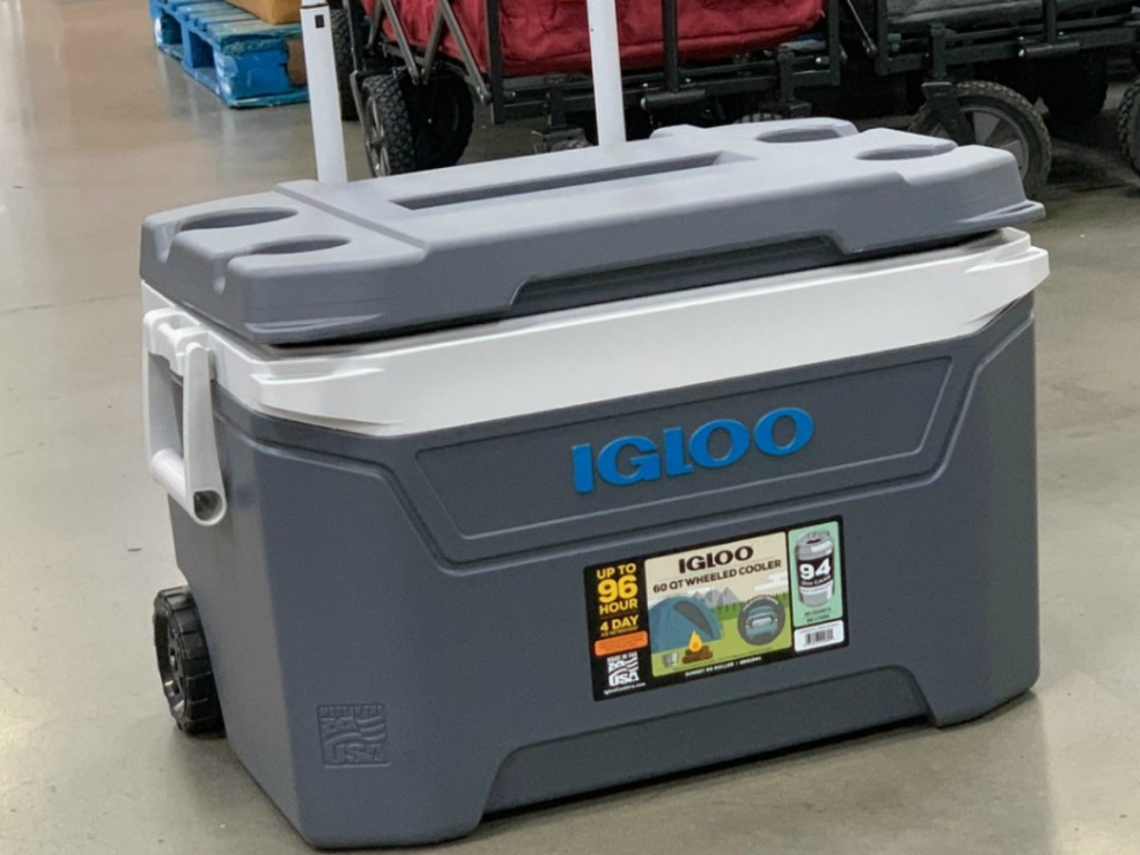 big grey cooler to hold drinks on store floor