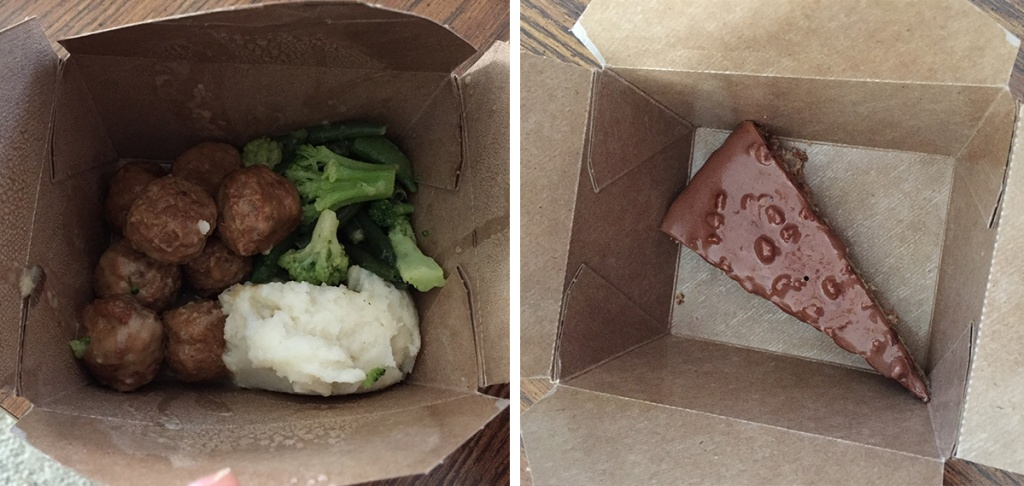 take out box of meatball meal and cake from ikea