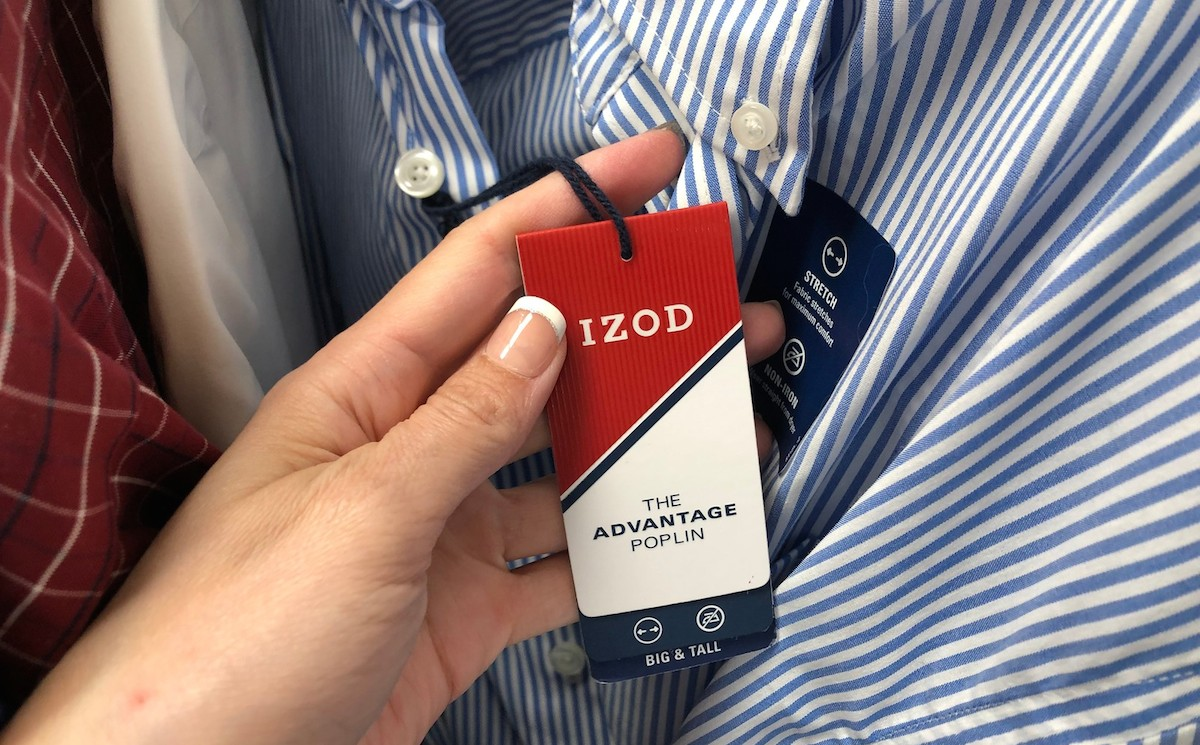 red and white izod tag on blue white stripe shirt