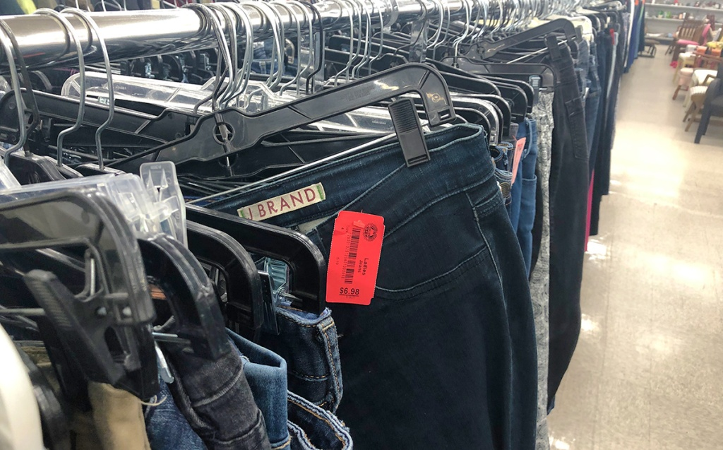 designer j brand jeans at thrift store