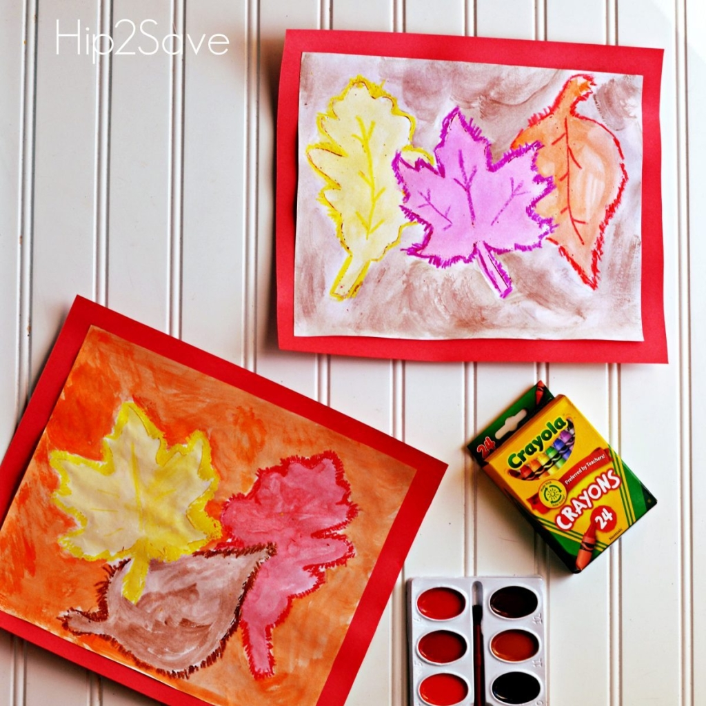 leaf watercolor art project for fall