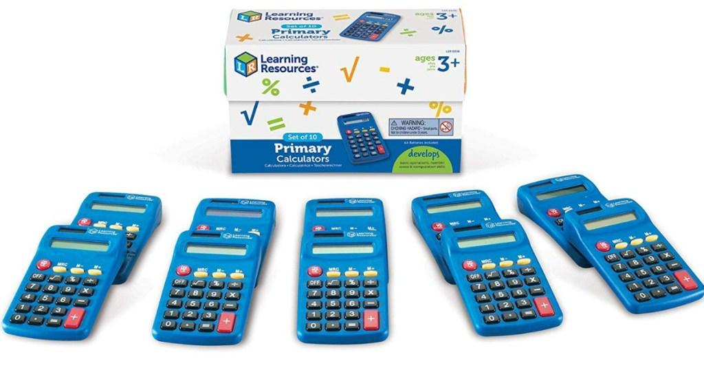 10 calculators and box