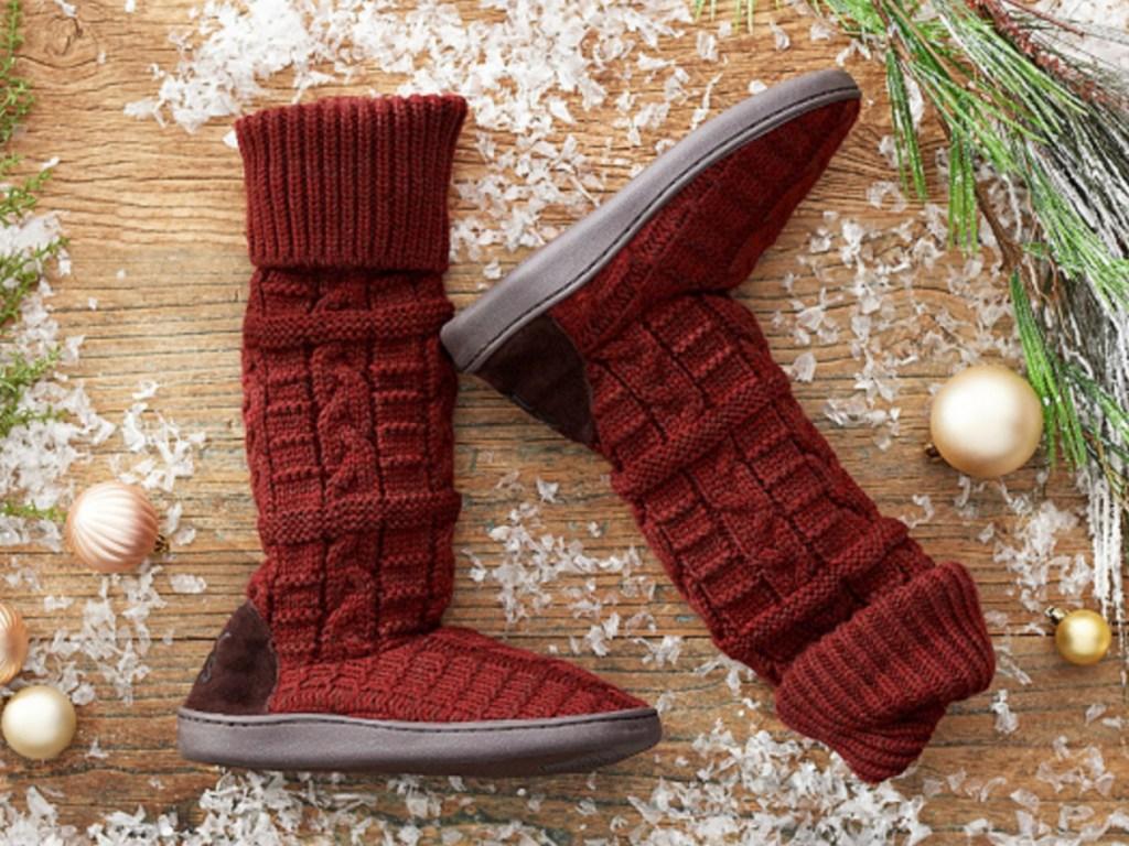 muk luks shelley slipper boots at QVC