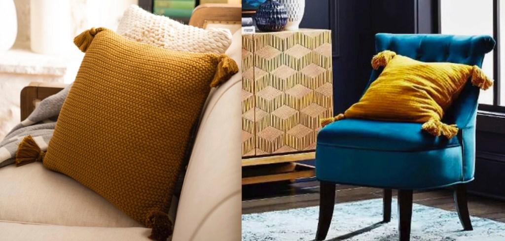 golden yellow mustard tassel pillows on beige couch blue chair
