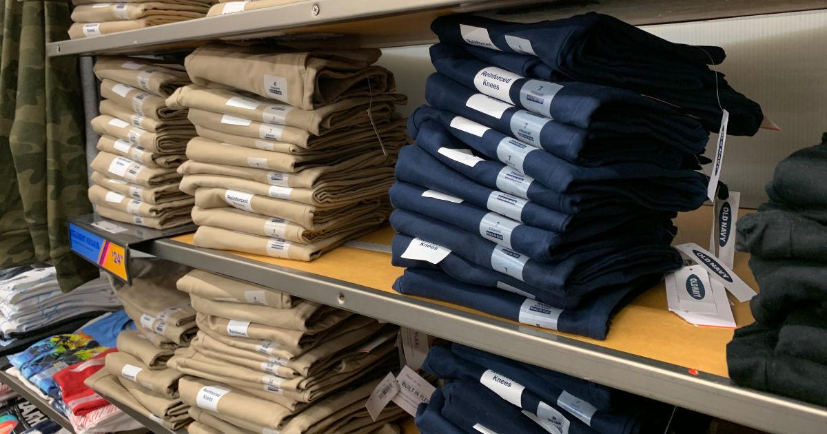 Old Navy Kids Uniform Pants on shelf