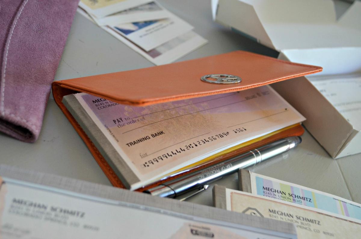personal checks inside cover