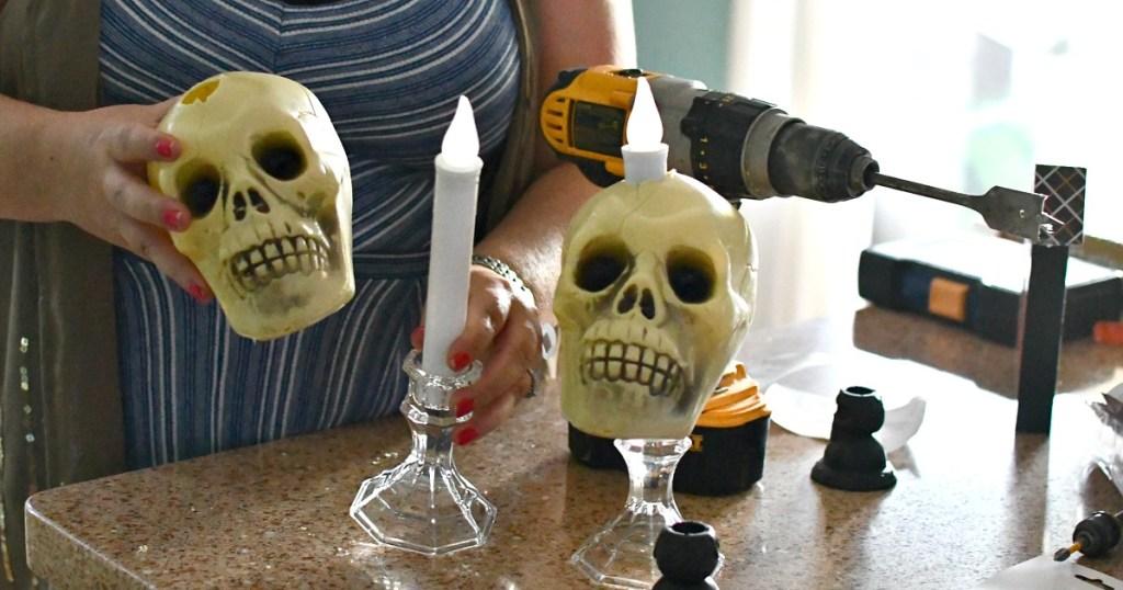 placing skulls over candlesticks