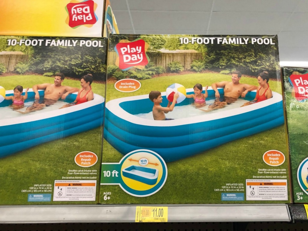 pool in box on shelf at store