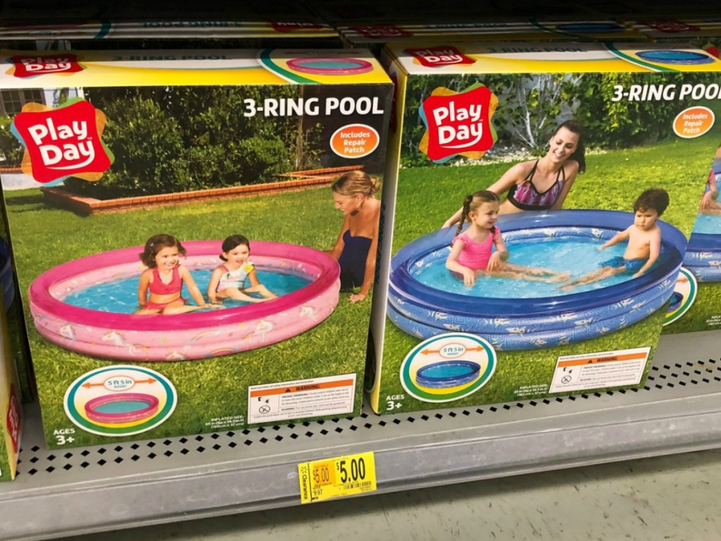 2 boxes with a pink pool and blue pool on store shelf