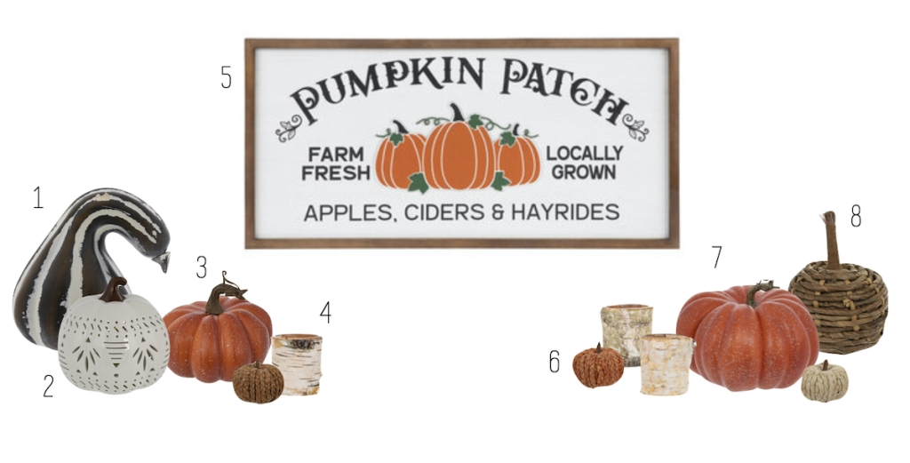 pumpkin patch sign and gourds on white stock background
