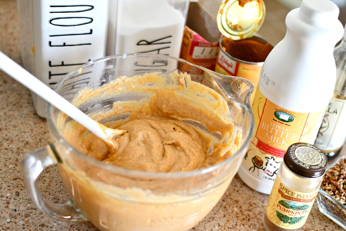 mixing pumpkin spice pancake batter